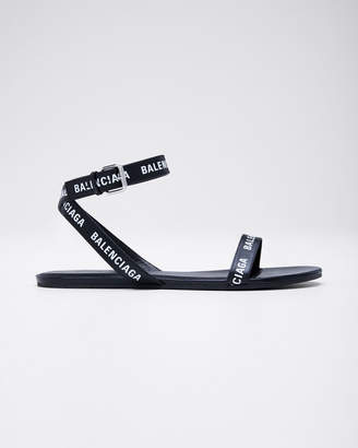 Balenciaga Logo Flat Leather Sandals
