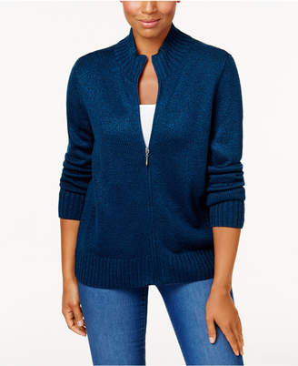 Karen Scott Petite Zip-Front Cardigan Sweater