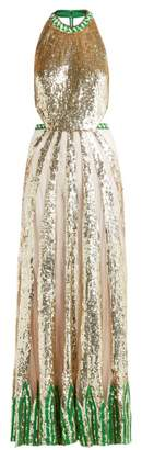 Temperley London Sycamore Sequinned Maxi Dress - Womens - Green Multi