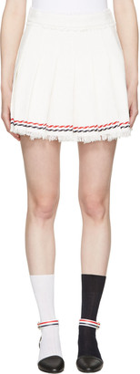 Thom Browne White Selvedge Tweed Pleated Miniskirt $1,390 thestylecure.com
