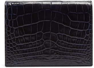 Mara crocodile-effect leather bridge card case