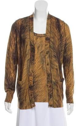 Oscar de la Renta Printed Merino Wool Cardigan Set Tan Printed Merino Wool Cardigan Set