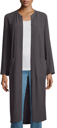 Eileen Fisher Long Button-Front Silk Duster Coat $398 thestylecure.com