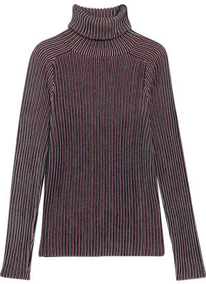 Carven Striped Cotton-blend Turtleneck Sweater - Blue
