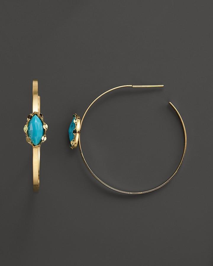Lana 14K Yellow Gold Hoop Earrings with Turquoise