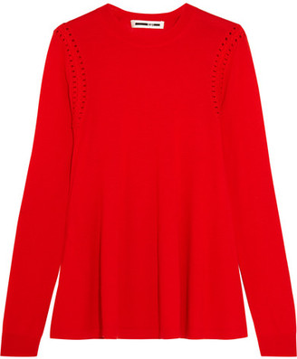 McQ Alexander McQueen - Crochet-trimmed Wool Sweater - Red $295 thestylecure.com