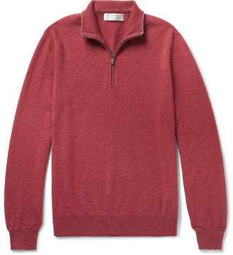 Brunello Cucinelli Contrast-Tipped Cashmere Half-Zip Sweater - Burgundy