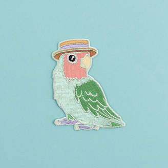 Birds in Hats Lovebird In A Boater Iron On Embroidered Patch