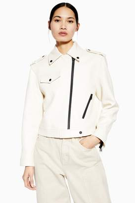 Topshop Womens **White Leather Biker Jacket By White