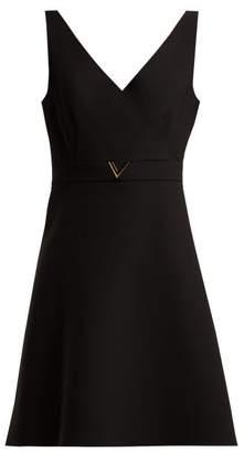 Valentino V Belt Wool Blend Mini Dress - Womens - Black