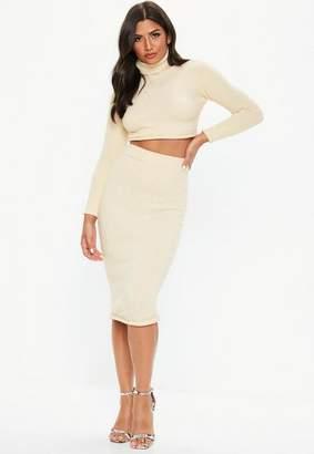 Missguided Cream Knit Bodycon Midi Skirt