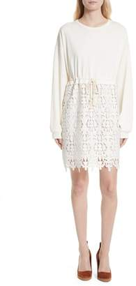 See by Chloe Lace Skirt Sweatshirt Dress