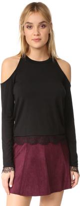 Splendid Lace Knit Cold Shoulder Top $88 thestylecure.com