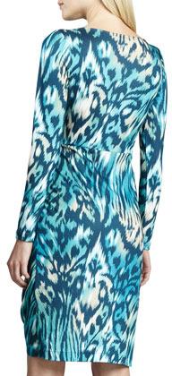 Lafayette 148 New York Mallard Tiger-Print Jersey Dress