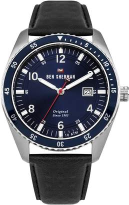 Ben Sherman Men's 'The Ronnie Sports' Quartz Stainless Steel and Leather Casual Watch, Color:Black (Model: WBS107UB)
