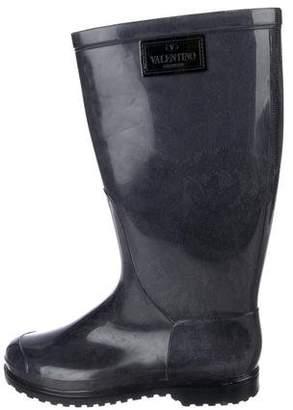 Valentino Round-Toe Rubber Rain Boots