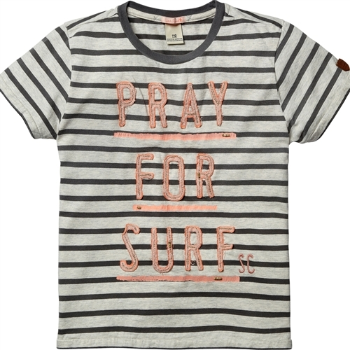 Scotch & Soda Kids - Boy's Worked Out Tee with Patched Light - Navy Stripe