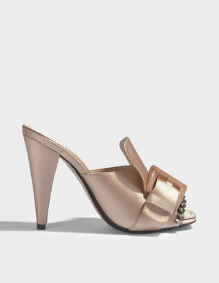 N°21 N21 Satin Mule Shoes with Buckles and Crystals in Nude Synthetic Fabric