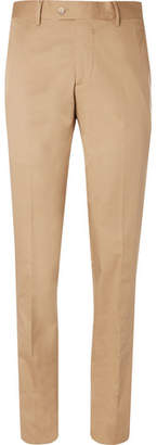 Caruso Sand Stretch-Cotton Twill Suit Trousers