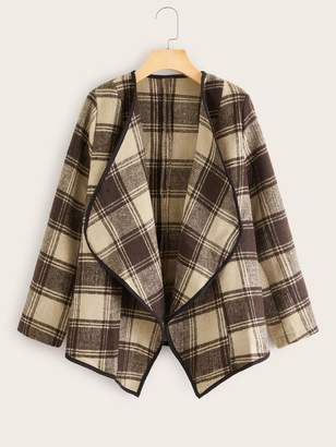 Shein Plaid Waterfall Collar High Low Coat