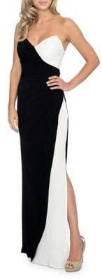 Decode 1.8 Colorblocked Strapless Long Gown