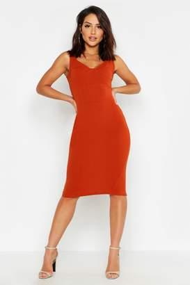 boohoo Bustier Structured Waist Midi Dress