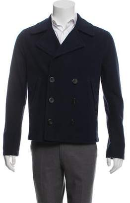 Burberry Woven Double-Breasted Peacoat navy Woven Double-Breasted Peacoat