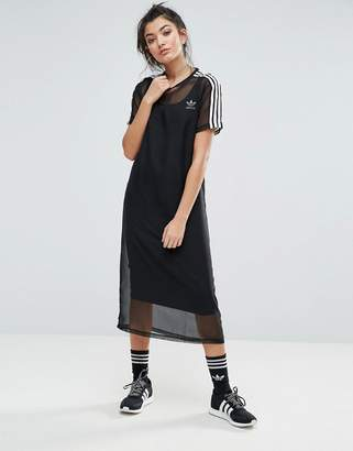 Adidas adidas Originals Black Midi Dress With Sheer Mesh Overlay $70 thestylecure.com