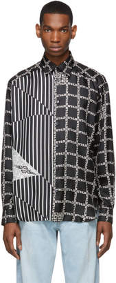 Givenchy Black and White Silk Graphic Loose Fit Shirt