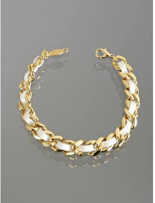 A.V. Max white leather woven chain link bracelet