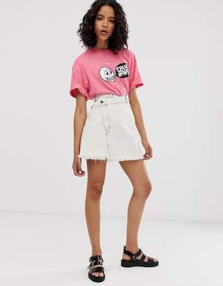Cheap Monday organic cotton denim slant skirt with raw hem