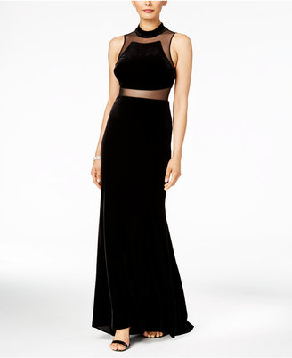 Betsy & Adam Velvet Illusion Gown $189 thestylecure.com