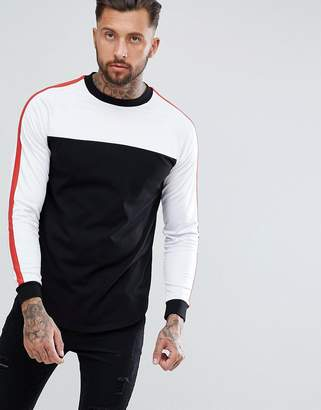 Asos DESIGN Relaxed Super Longline Long Sleeve T-Shirt With Contrast Polytricot Yoke And Curved Hem