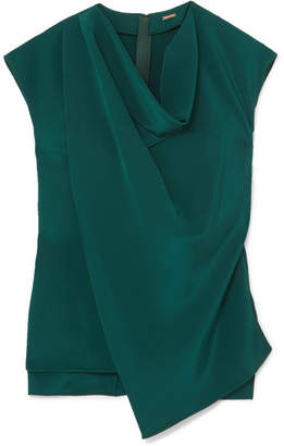 ADAM by Adam Lippes Draped Silk-crepe Top - Emerald