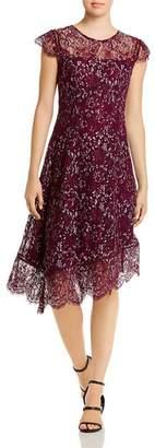 Donna Karan Asymmetric Hem Lace Dress