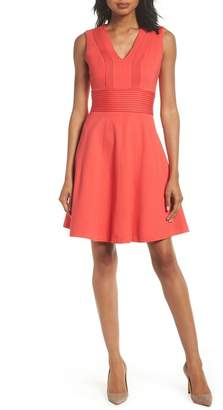 Eliza J Pintuck Fit & Flare Dress
