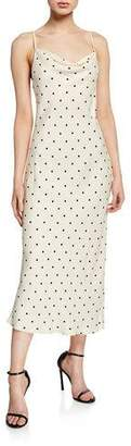 Shona Joy Odell Polka-Dot Cowl-Neck Bias-Cut Sleeveless Midi Dress