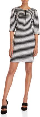 Connected Apparel Petite Striped Quarter-Zip Sweater Dress