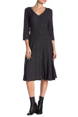 Connected Apparel V-Neck 3/4 Sleeve Solid Knit Sweater Dress