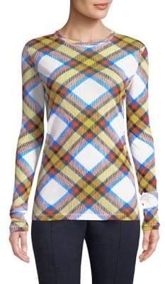 Diane von Furstenberg Plaid-Print Pullover