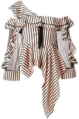 Self-Portrait asymmetric striped blouse