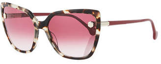 Salvatore Ferragamo Fiore Cat-Eye Acetate Sunglasses