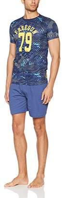 Freegun Men's AH.Freepalmie.Psh.MZ men's pyjama set, Blue (Navy)