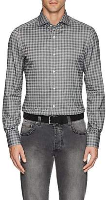 Isaia Men's Checked Brushed Cotton Shirt