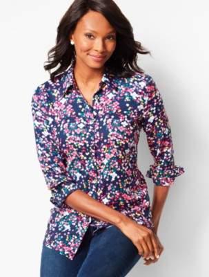 Talbots Floral Dot Print Classic Cotton Shirt