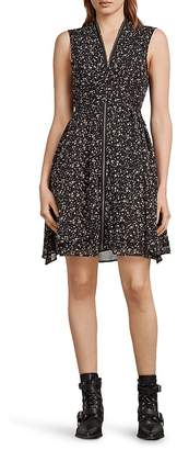 AllSaints Jayda Pepper Floral Print Zip-Front Dress