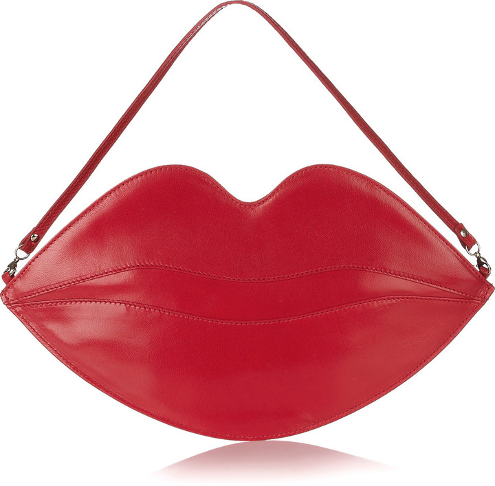 Charlotte Olympia Big Kiss leather lips clutch