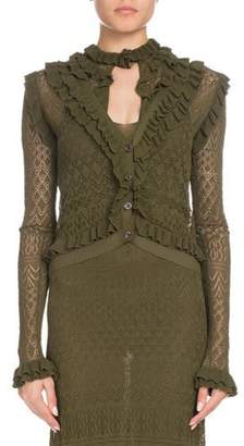 Altuzarra Kozmic Button-Front Long-Sleeve Ruffled Pointelle Lace Knit Cardigan