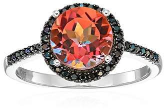 Sterling Silver Sunset Topaz And Black Spinel Halo Engagement Ring