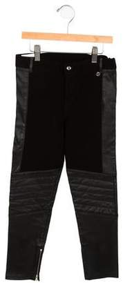 Gucci Girls' Leather-Trimmed Moto Pants w/ Tags